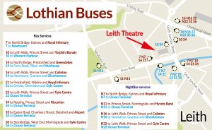 Lothian Buses map - how to get to the Leith Theatre